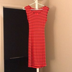Black and red striped midi dress